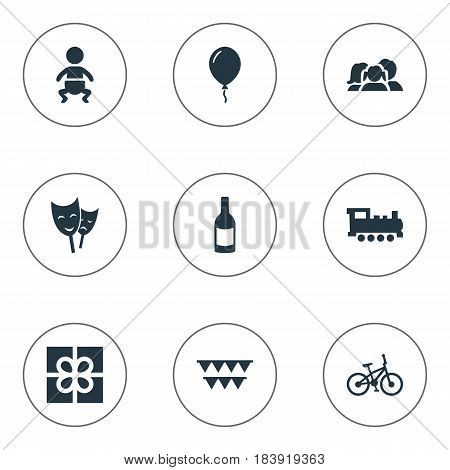 Vector Illustration Set Of Simple Holiday Icons. Elements Beverage, Domestic, Infant And Other Synonyms Family, Theater And Kid.