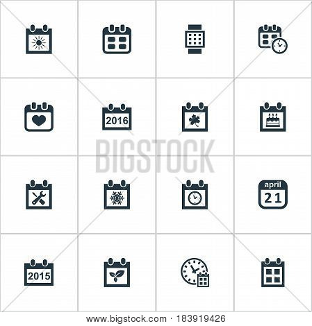 Vector Illustration Set Of Simple Time Icons. Elements Remembrance, Renovation Tools, Annual And Other Synonyms Agenda, Special And Remembrance.