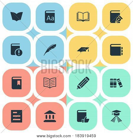 Vector Illustration Set Of Simple Books Icons. Elements Book Cover, Journal, Library And Other Synonyms Academic, Bookmark And Graduation.