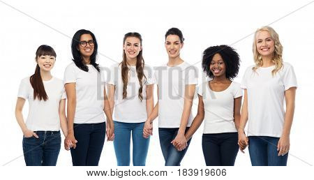 diversity, race, ethnicity and people concept - international group of happy smiling different women in white blank t-shirts holding hands
