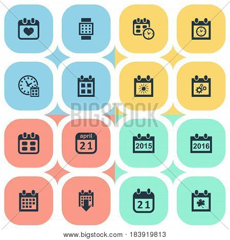 Vector Illustration Set Of Simple Time Icons. Elements Heart, Almanac, Deadline And Other Synonyms Data, Annual And Autumn.
