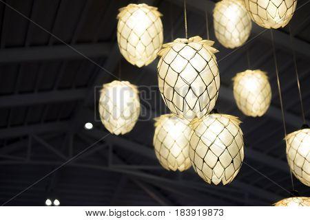 light bulb and lamp in modern style. Warm tone light bulb lamp.