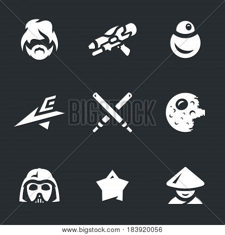 Man, weapon, robot, spaceship, swords, planet, helmet, star, Jedi.