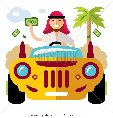 Man driving a car and throwing dollars. Isolated on a white background