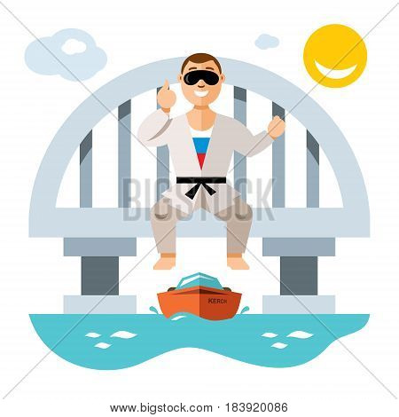 Stuntman is preparing to jump on the boat. Isolated on a white background