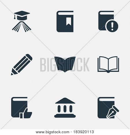 Vector Illustration Set Of Simple Reading Icons. Elements Reading, Graduation Hat, Important Reading And Other Synonyms Important, Academy And Hat.