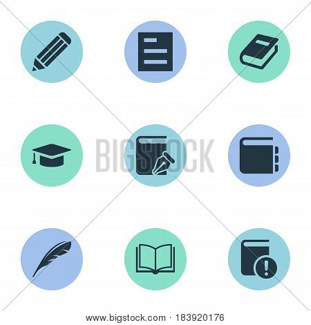 Vector Illustration Set Of Simple Education Icons. Elements Blank Notebook, Journal, Important Reading And Other Synonyms Journal, Book And Write.