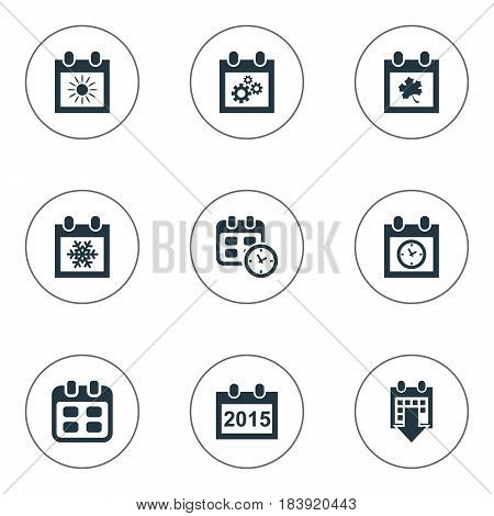 Vector Illustration Set Of Simple Time Icons. Elements Date, Planner, History And Other Synonyms History, Calendar And Event.