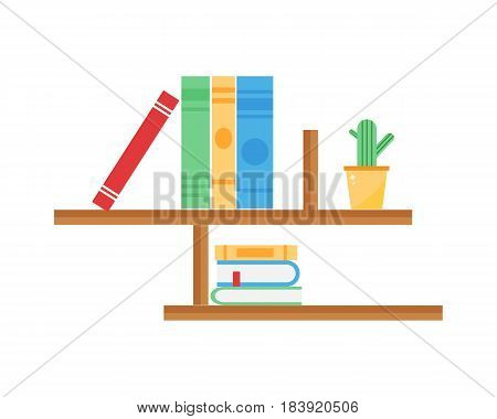 Library bookshelf room decor children bedroom interior education school knowledge furniture vector. Apartment design bookcase nursery childhood wood archive illustration.