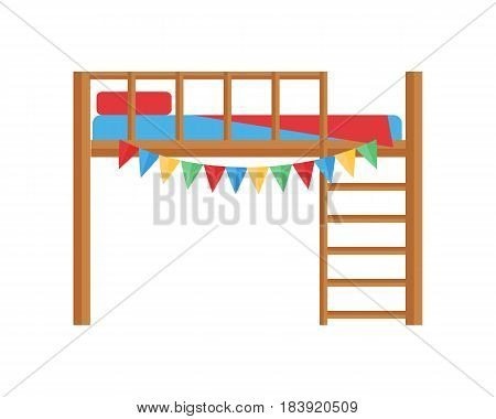 Comfortable bunk bed cozy baby room decor children bedroom interior furniture vector. Apartment design infant nursery childhood boy dormitory relax illustration.