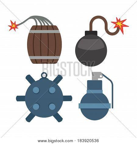 Bomb with burning wick weapon flat vector dynamite set. Cartoon sparkle flame danger explosive destruction detonator terrorism bang. Warning risk object.