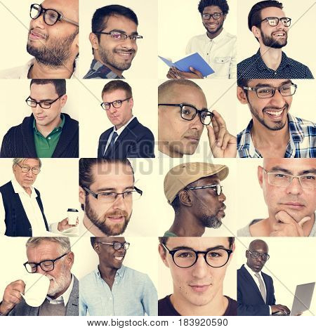 Collection of men wearing glasses portrait