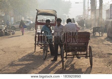 DELHI INDIA-MAR 21 : morning life of rickshaw driver at chandni chowk rickshaw is traditonal taxi of delhi on march 21 2015 india