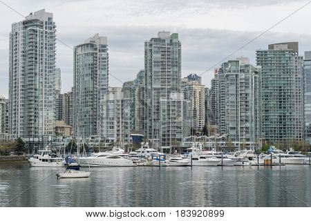 Vancouver Canada - April 22, 2017 Downtown Vancouver Near False Creek
