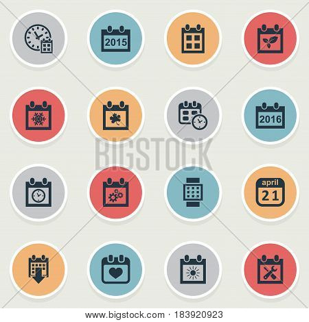 Vector Illustration Set Of Simple Time Icons. Elements Planner, Summer Calendar, Renovation Tools And Other Synonyms Almanac, Date And Smart.
