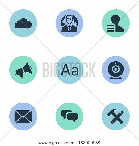 Vector Illustration Set Of Simple Blogging Icons. Elements Cedilla, Repair, Broadcast And Other Synonyms Sky, Globe And Loudspeaker.
