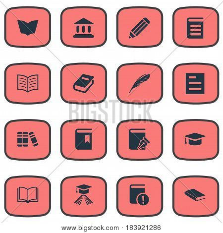 Vector Illustration Set Of Simple Books Icons. Elements Book Cover, Sketchbook, Book Page And Other Synonyms Quill, School And Journal.