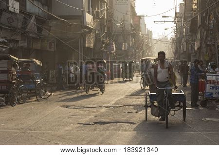 DELHI INDIA - JUN 7 : morning life of people on street in chawri bazar of old delhi. old delhi is famous place of delhi on june 7 2015 india