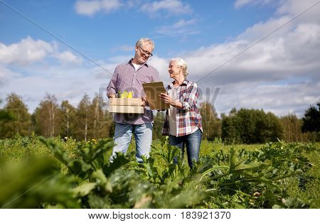 farming, gardening, agriculture, harvest and people concept - happy senior couple with squashes and clipboard at farm