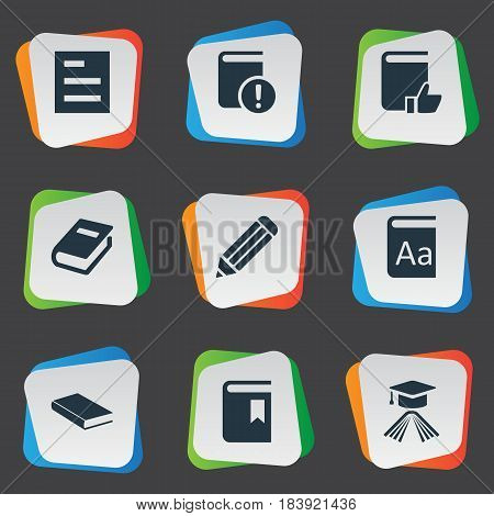 Vector Illustration Set Of Simple Reading Icons. Elements Recommended Reading, Alphabet, Notebook And Other Synonyms Writing, Reading And Academic.