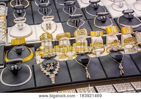 Gold braceletes at the Grand Bazaar, Istanbul.
