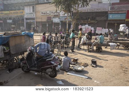 DELHI INDIA - MAR 21 : morning life of worker in chandni chowk in old delhi old delhi is aged and famous marketplace of delhi on march 21 2015 india