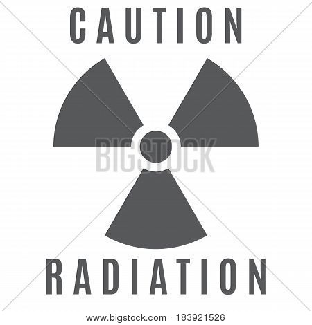 The sign of radioactive danger executed in gray color and located on a white background.