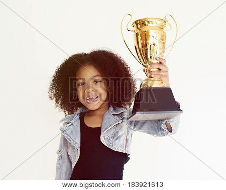 Girl Holding Trophy Winner Success Winner