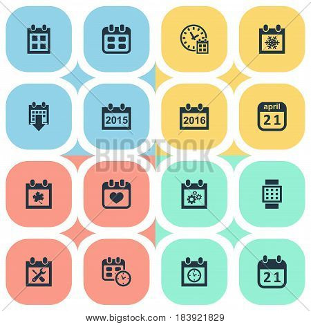Vector Illustration Set Of Simple Time Icons. Elements Planner, Almanac, Snowflake And Other Synonyms Day, History And Wheel.