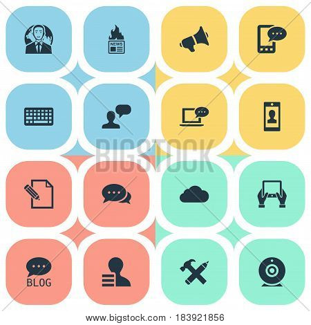Vector Illustration Set Of Simple Newspaper Icons. Elements Loudspeaker, Profile, Repair And Other Synonyms Profile, Contract And Writing.