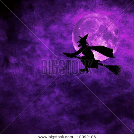 grunge background with silhouette of witch flying on a broom on full moon halloween night