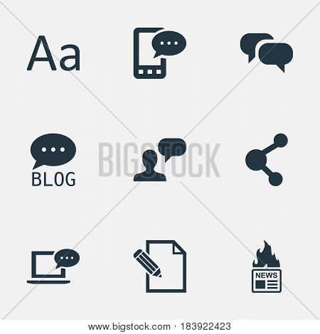 Vector Illustration Set Of Simple Newspaper Icons. Elements E-Letter, Site, Gossip And Other Synonyms Man, Speech And Laptop.