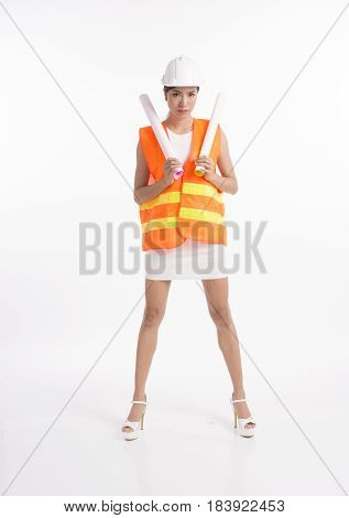 Sexy girl structural engineer holding drafting paper white background photo