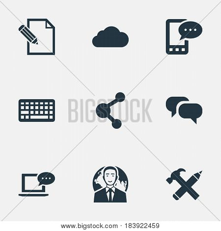 Vector Illustration Set Of Simple User Icons. Elements Gossip, International Businessman, Keypad And Other Synonyms Conversation, Overcast And Pen.