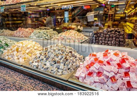 Sweet shop with great assortment at the Grand Bazaar, Istanbul.
