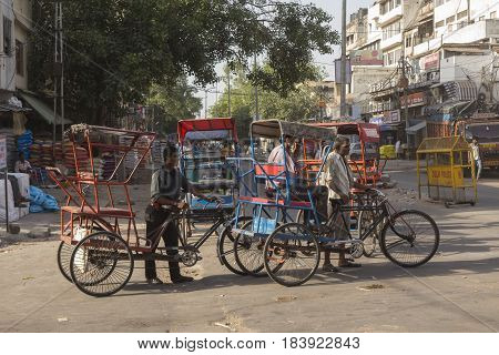 DELHI INDIA-JUN 10 : local rickshaw in old delhi. rickshaw as three wheeler bike taxi in local area of delhi on june 10 2015 india