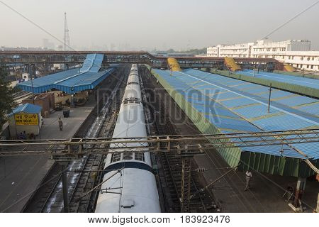 DELHI INDIA - JUN 18 : train in platform 5 in new delhi railway station. this station is large station of delhi on june 18 2015 india