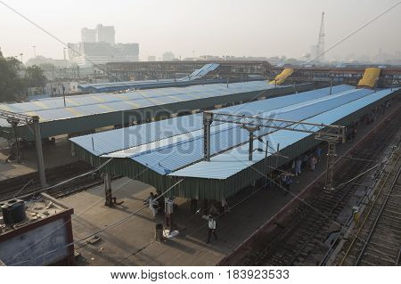 DELHI INDIA - JUN 18 : view of new delhi railway station at platform 3 . this station is large station of delhi on june 18 2015 india