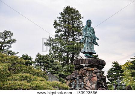 Prince Yamato Takeru in Kenroku Garden in Kanazawa Japan. Prince Yamato is a ledendary hero of Kanazawa.