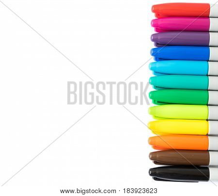 Closeup colorful of marker pen on white background