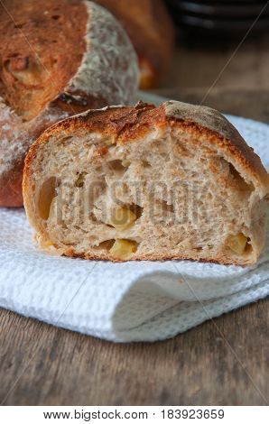 Close Up Of Fresh Homemade Sourdough Bread With Apples And Cinnamon