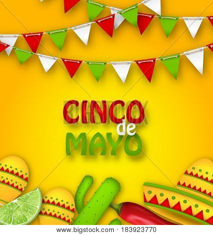 Illustration Holiday Celebration Poster for Cinco De Mayo with Chili Pepper, Sombrero Hat, Maracas, Piece of Lime, Cactus. Bunting Adornment with Traditional Mexican Colors - Vector