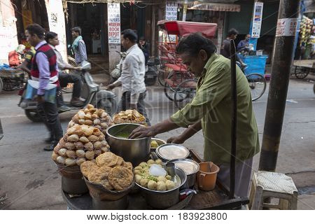 DELHI INDIA - DEC 10 : traditional india street food stall in chawri bazar at old delhi of Delhi on december 10 2014 india. chawri bazar is aged market place delhi