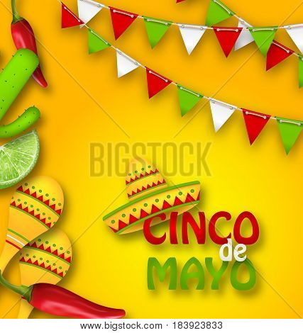 Illustration Holiday Celebration Banner for Cinco De Mayo with Chili Pepper, Sombrero Hat, Maracas, Piece of Lime, Cactus. Bunting Decoration with Traditional Mexican Colors - Vector