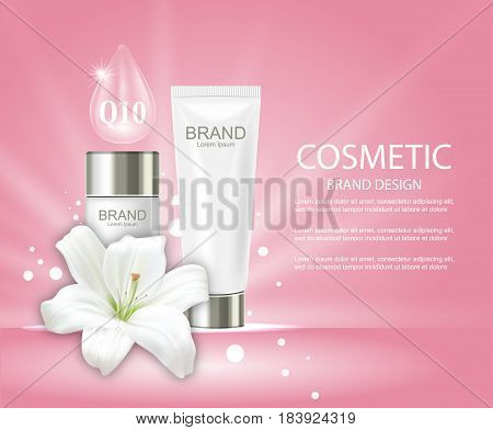 Illustration Advertising Poster with Cosmetic Tubes and Lily Flower - Vector