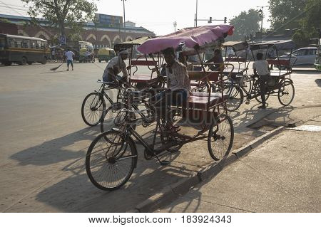 DELHI INDIA-JUL 25 : local rickshaw in front of old delhi railway station of delhi on july 25 2015 india. rickshaw is three wheeler bike taxi in any local area of delhi