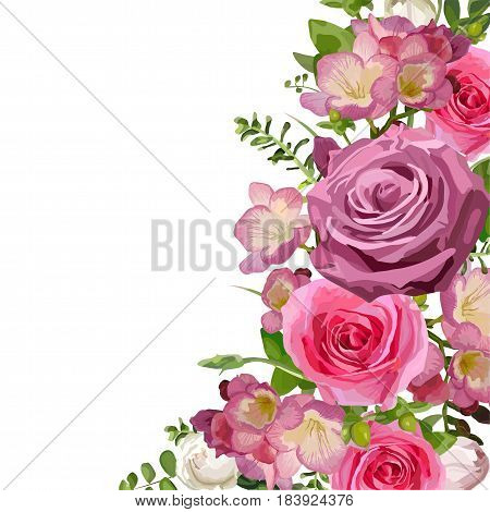 Flower bright flowers hot pink Rose leaves beautiful lovely spring summer bouquet vector illustration. Top view square elegant watercolor design isolated white background greeting card text space
