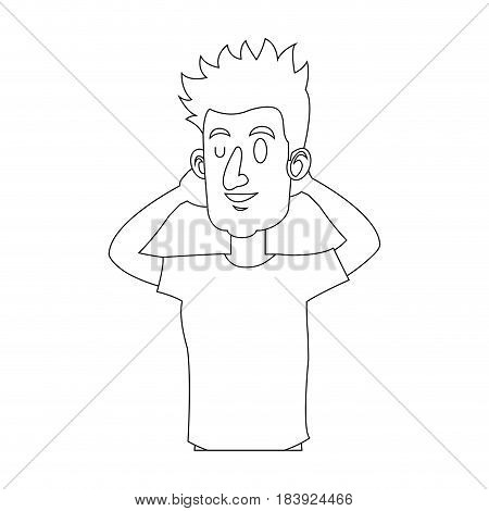 character man with arms up relaxed attitude outline vector illustration design