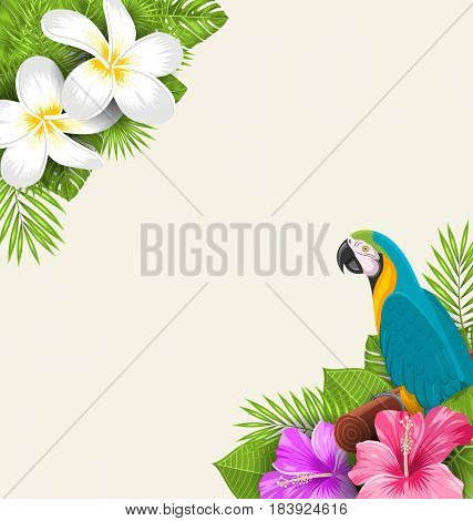 Illustration Exotic Border with Parrot Ara, Flowers Plumeria and Hibiscus, Natural Background - Vector