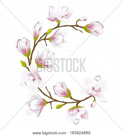Illustration Round Frame Made of Beautiful Magnolia Flowers. Wedding Romantic Card - Vector